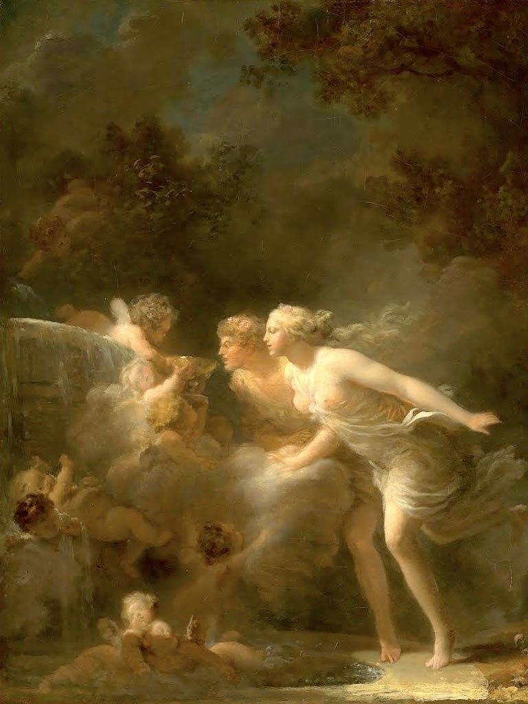 """№1496, """"The Fountain of Love"""" от Jean-Honoré Fragonard. Жикле картина с ефектен ръчен релеф. Индивидуална изработка по поръчка."""