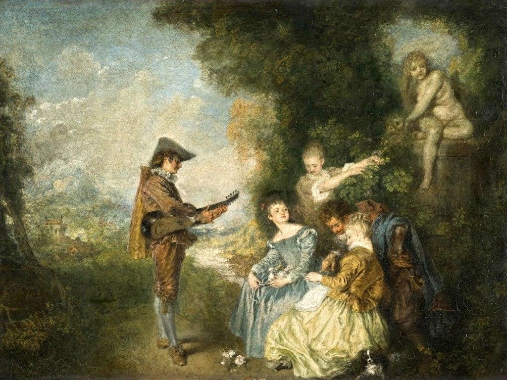 """№1500, """"The Love Lesson"""" от Jean-Antoine Watteau. Жикле картина с ефектен ръчен релеф. Индивидуална изработка по поръчка."""