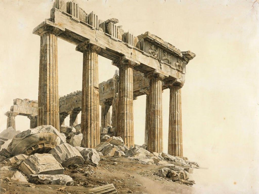 """№1508, """"The Parthenon II"""" от Giovanni Lusieri. Жикле картина с ефектен ръчен релеф. Индивидуална изработка по поръчка."""