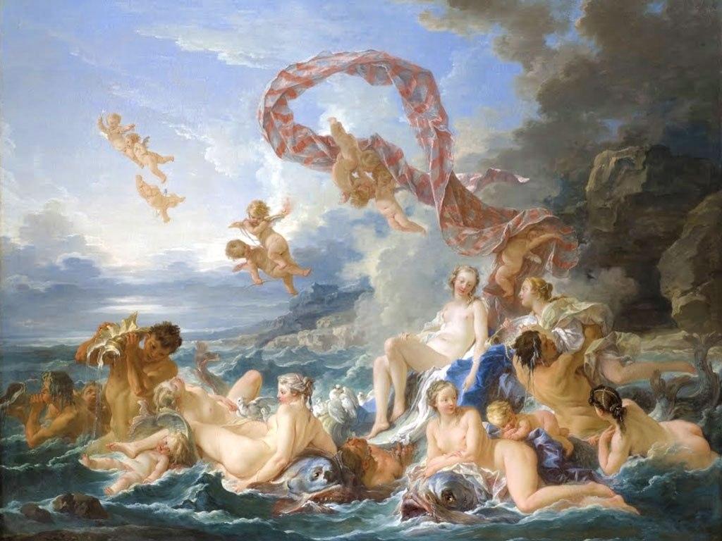 """№1509, """"The Triumph of Venus"""" от François Boucher. Жикле картина с ефектен ръчен релеф. Индивидуална изработка по поръчка."""