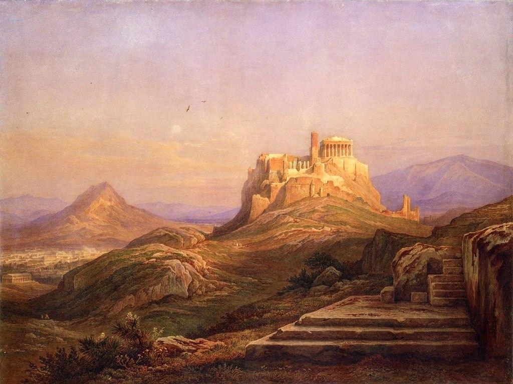"""№1511, """"Тhe Acropolis from the Pnyx"""" от Rudolf Müller. Жикле картина с ефектен ръчен релеф. Индивидуална изработка по поръчка."""