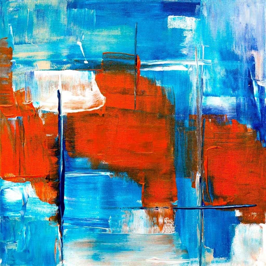 №1588, Рапсодия в синьо и червено. Жикле картина с ефектен ръчен релеф. Индивидуална изработка по поръчка.