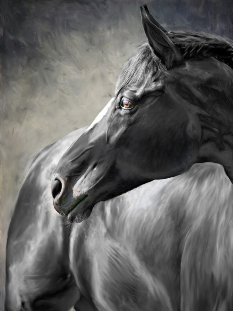 №1612 Красотата на коня. Жикле картина с ефектен ръчен релеф. Индивидуална изработка по поръчка.