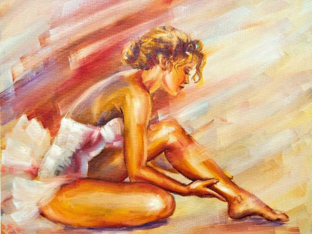 №1842, Нежността на балерината. Жикле картина с ефектен ръчен релеф. Индивидуална изработка по поръчка.