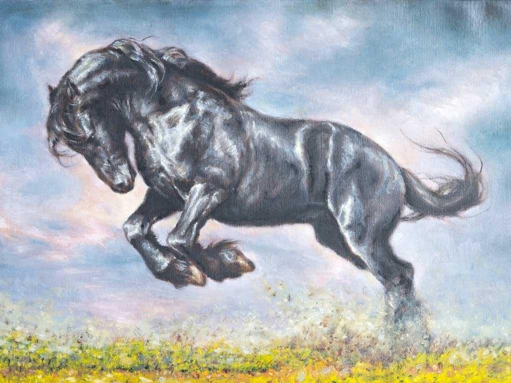 №2183, Веселият на коня. Жикле картина с ефектен ръчен релеф. Индивидуална изработка по поръчка.