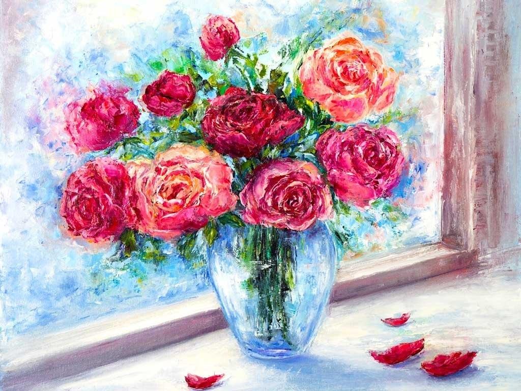 №2234, Ваза с рози. Индивидуална изработка по поръчка.