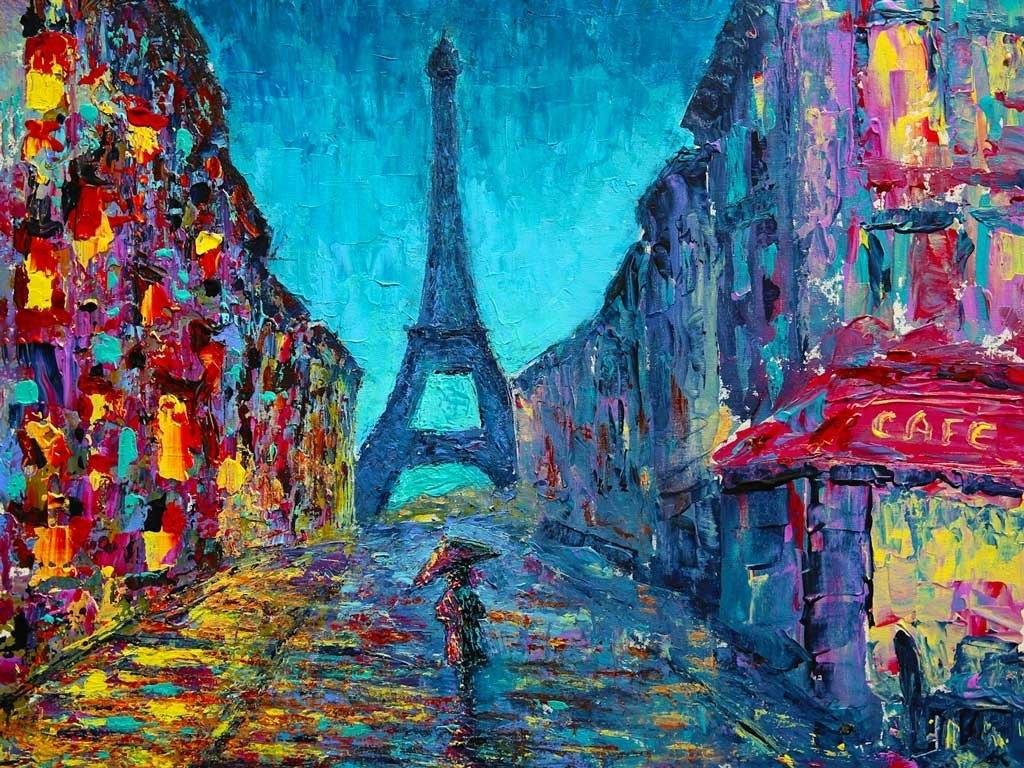 №2262, Парижка улица. Жикле картина с ефектен ръчен релеф. Индивидуална изработка по поръчка.