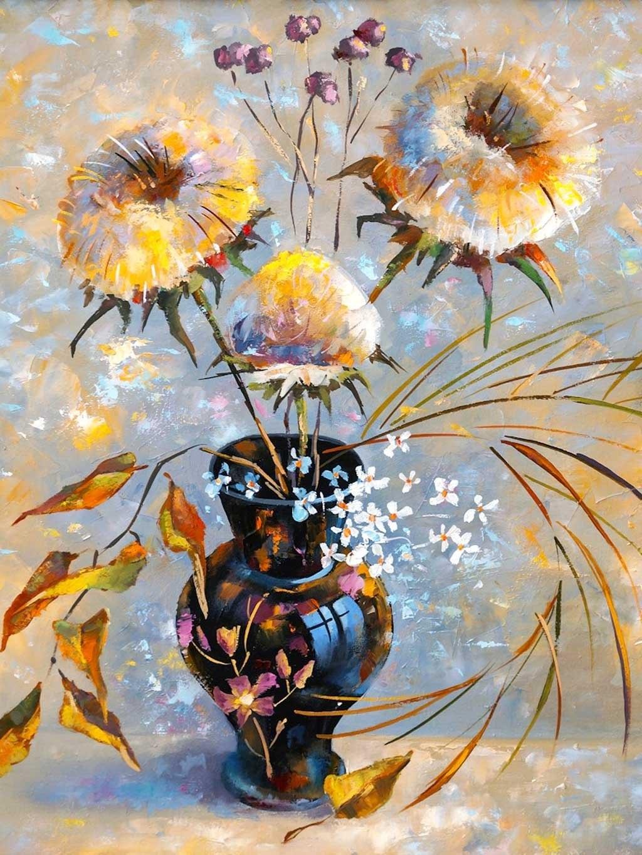 №2266, Цветя в цветна ваза. Жикле картина с ефектен ръчен релеф. Индивидуална изработка по поръчка.