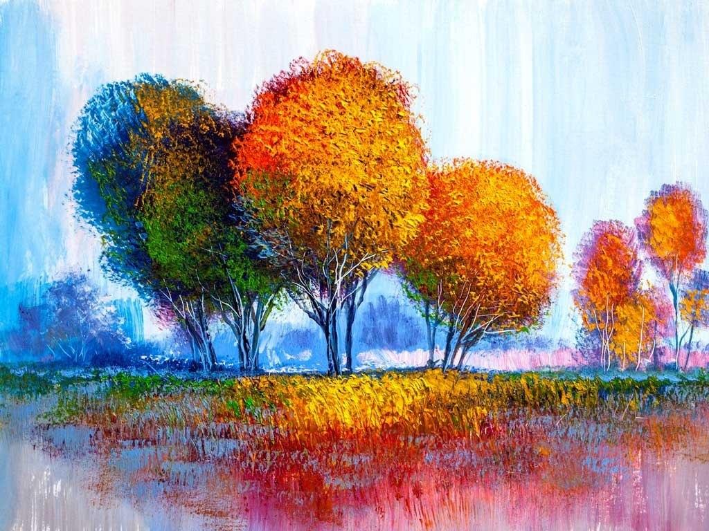 №2268, Есенни дървета.  Жикле картина с ефектен ръчен релеф. Индивидуална изработка по поръчка.