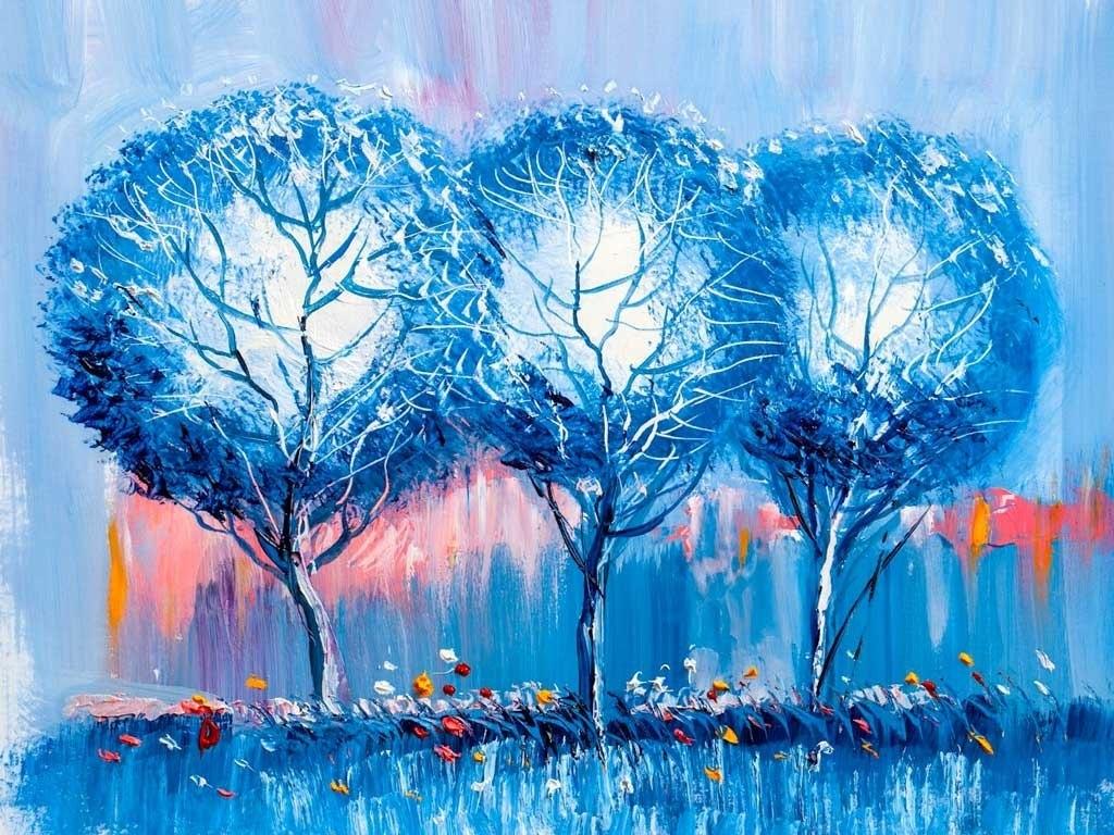 №2270, Замръзналите дървета.  Жикле картина с ефектен ръчен релеф. Индивидуална изработка по поръчка.