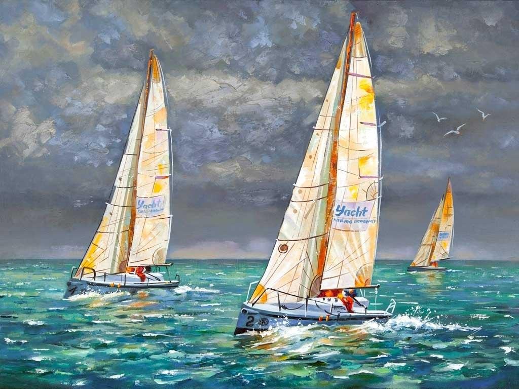 №2272, Плаващи кораби 2.  Жикле картина с ефектен ръчен релеф. Индивидуална изработка по поръчка.