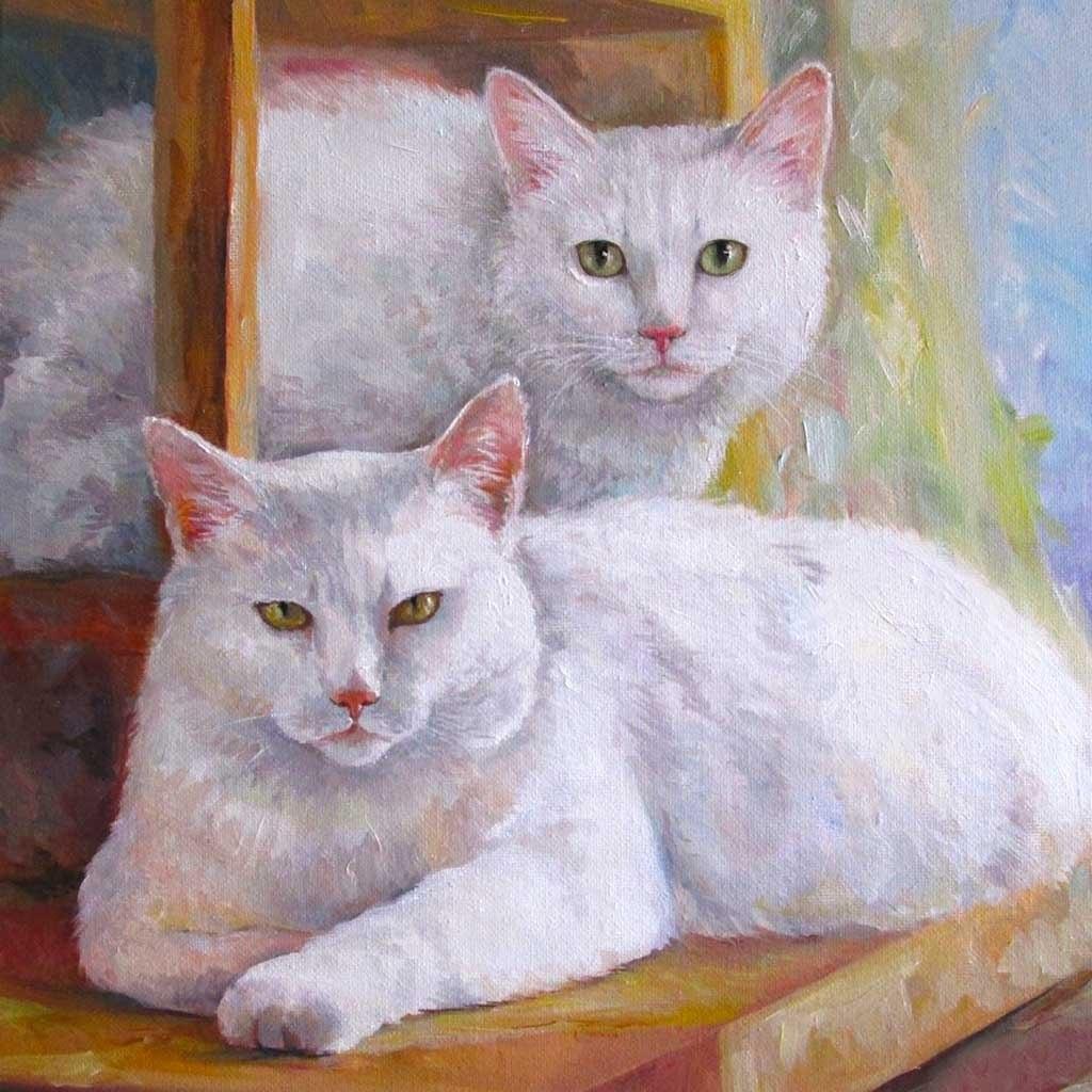 №2277, Красиви котки. Жикле картина с ефектен ръчен релеф. Индивидуална изработка по поръчка.