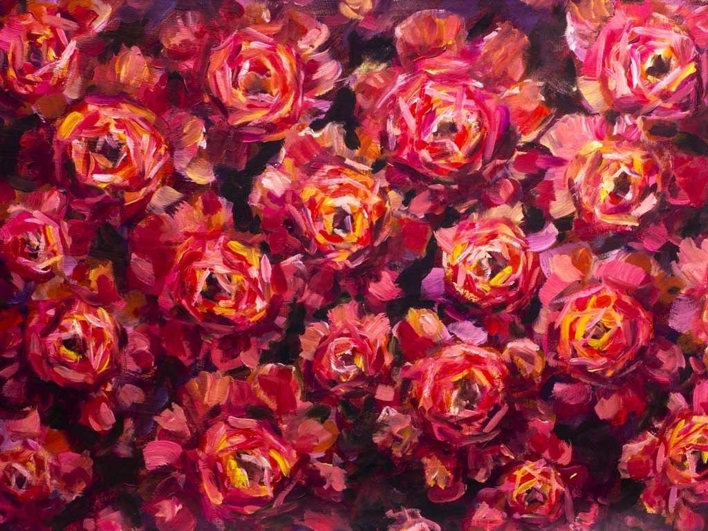 №2282, Богатство на рози. Жикле картина с ефектен ръчен релеф. Индивидуална изработка по поръчка.