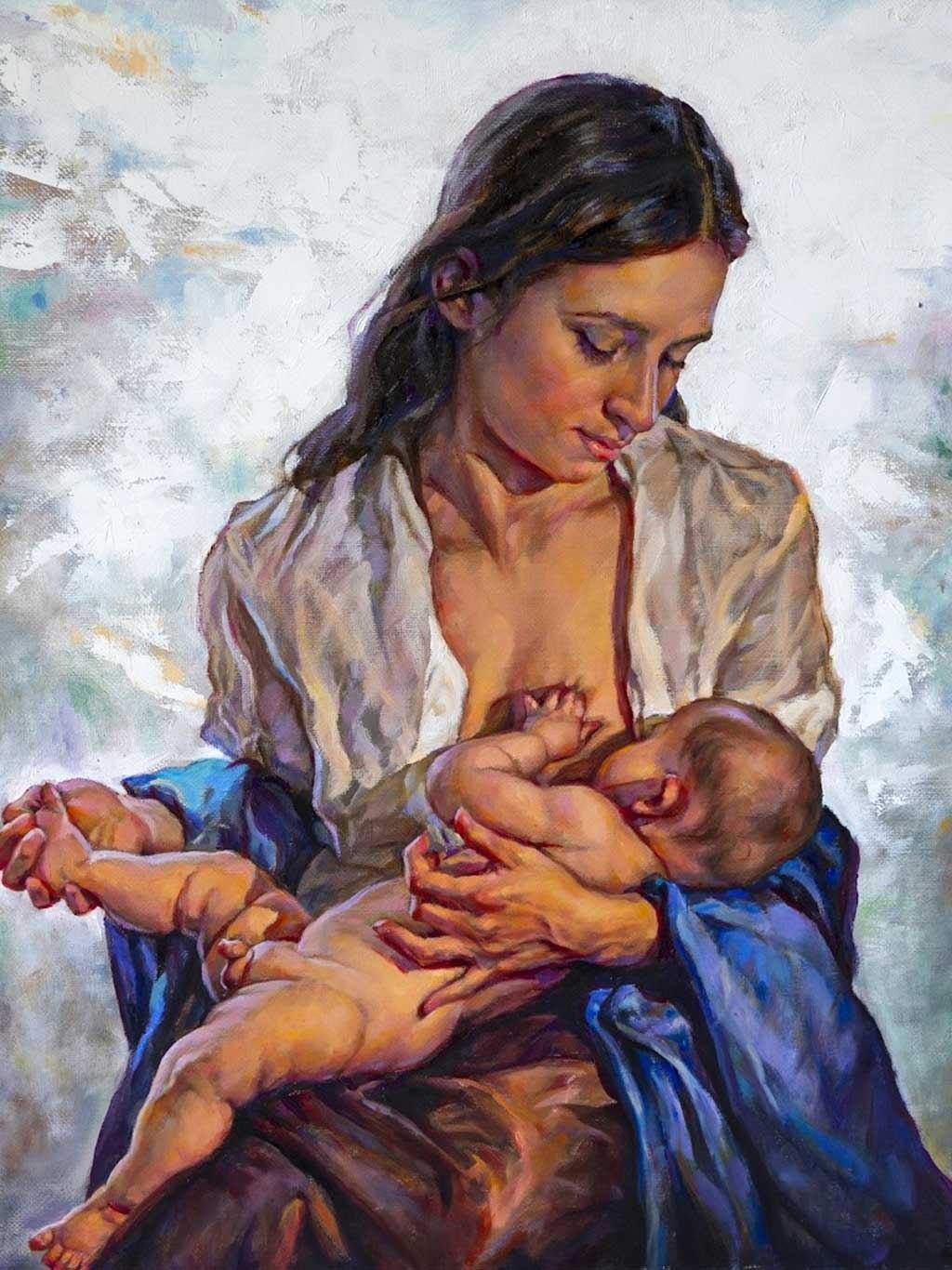 №2287, Кърмеща майка детето си. Жикле картина с ефектен ръчен релеф. Индивидуална изработка по поръчка.