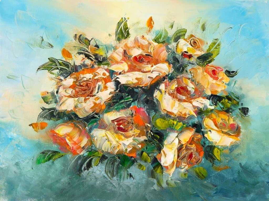№2290, Букет от цветя. Жикле картина с ефектен ръчен релеф. Индивидуална изработка по поръчка.