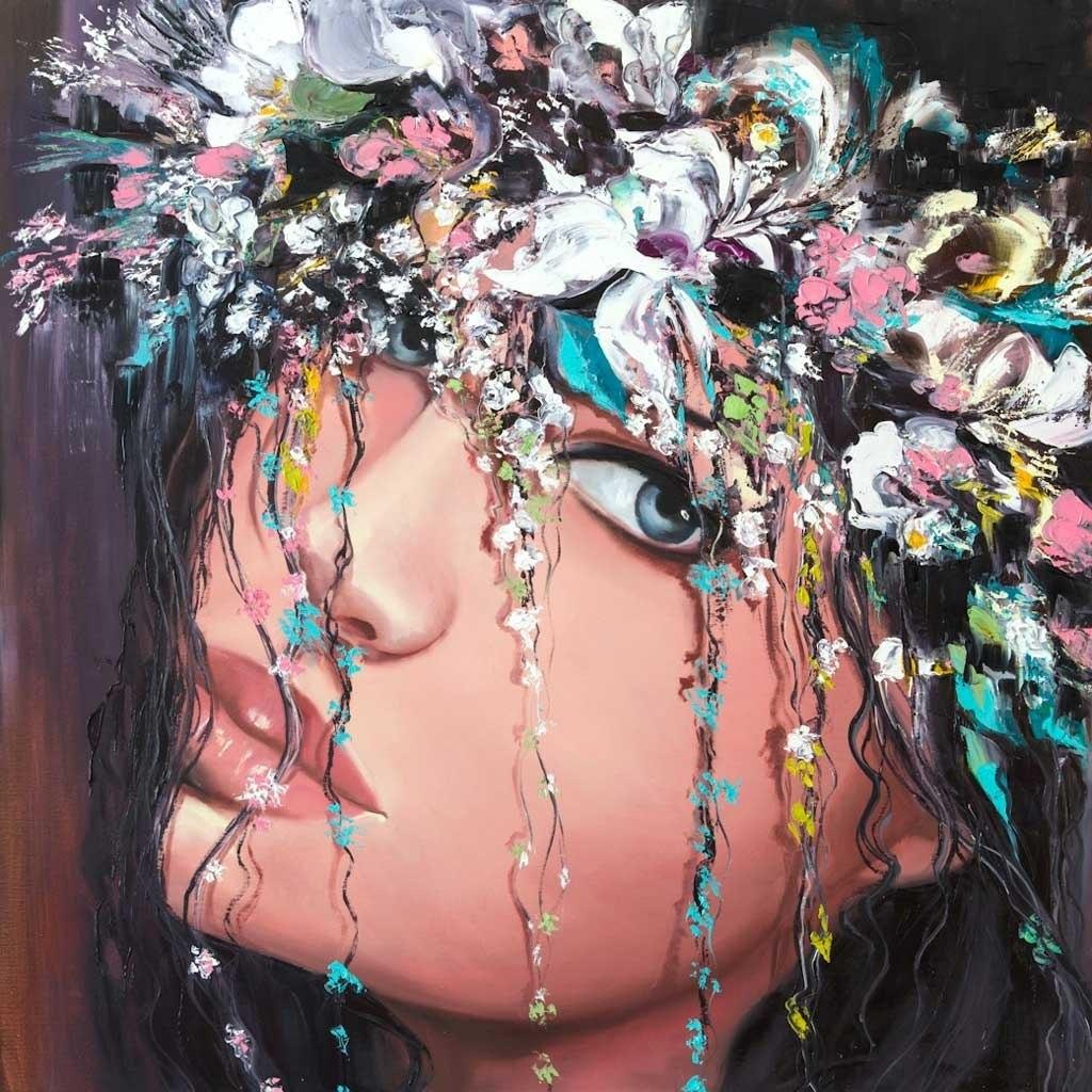 №2293, Красотата на жената. Жикле картина с ефектен ръчен релеф. Индивидуална изработка по поръчка.