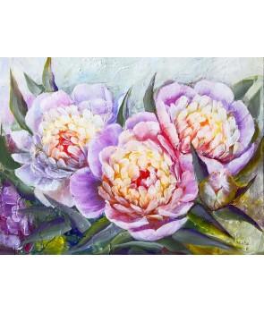 №2299, Сбор от цветя. Жикле картина с ефектен ръчен релеф. Индивидуална изработка по поръчка.