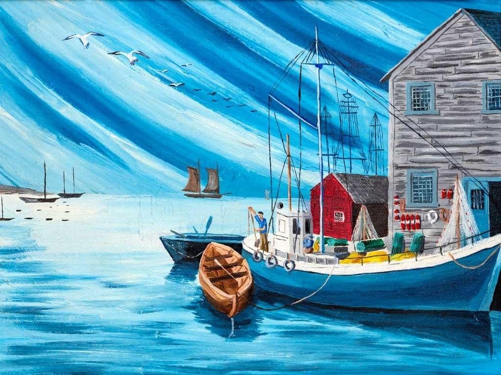 №2301, Романтична островна къща. Жикле картина с ефектен ръчен релеф. Индивидуална изработка по поръчка.