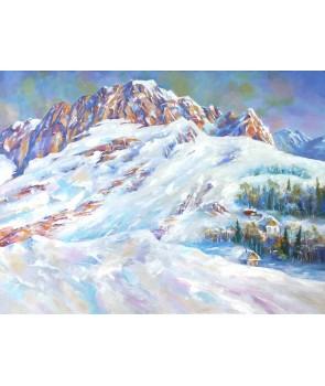 №2309, Снежна покривка в планината.  Жикле картина с ефектен ръчен релеф. Индивидуална изработка по поръчка.