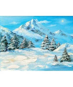 №2310, Снежна покривка в планината II.  Жикле картина с ефектен ръчен релеф. Индивидуална изработка по поръчка.