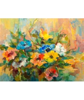 №2312, Сбор от цветя II. Жикле картина с ефектен ръчен релеф. Индивидуална изработка по поръчка.