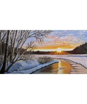 """""""Зимна топлина"""", оригинална картина с маслени бои на платно – 60 х 30 см., 2020г."""