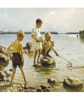 №2517, Момчета, играещи на брега. Жикле картина с ефектен ръчен релеф. Индивидуална изработка по поръчка.