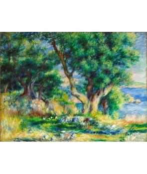 №2520, Пейзаж на брега до Ментон. Жикле картина с ефектен ръчен релеф. Индивидуална изработка по поръчка.