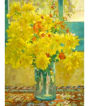 №2536, Yellow Chrysanthemums. Colin Campbell Cooper.