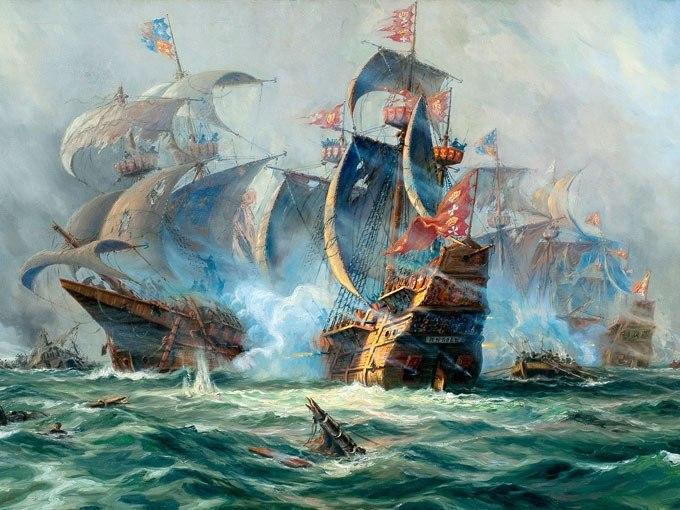 Морска битка. Картина - репродукция