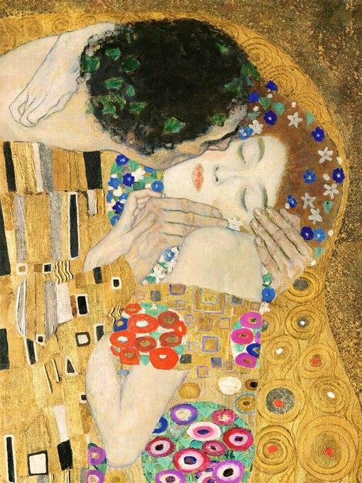 Целувката (фрагмент) от Густав Климт.