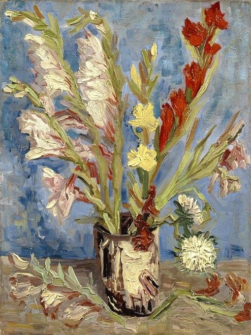 Ваза с гладиолии от Ван Гог. Картина - репродукция