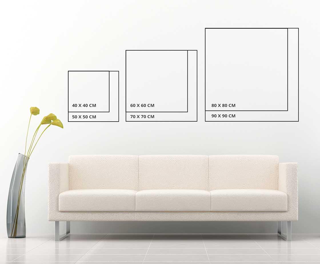 Размери картини върху стена. Квадратна картина
