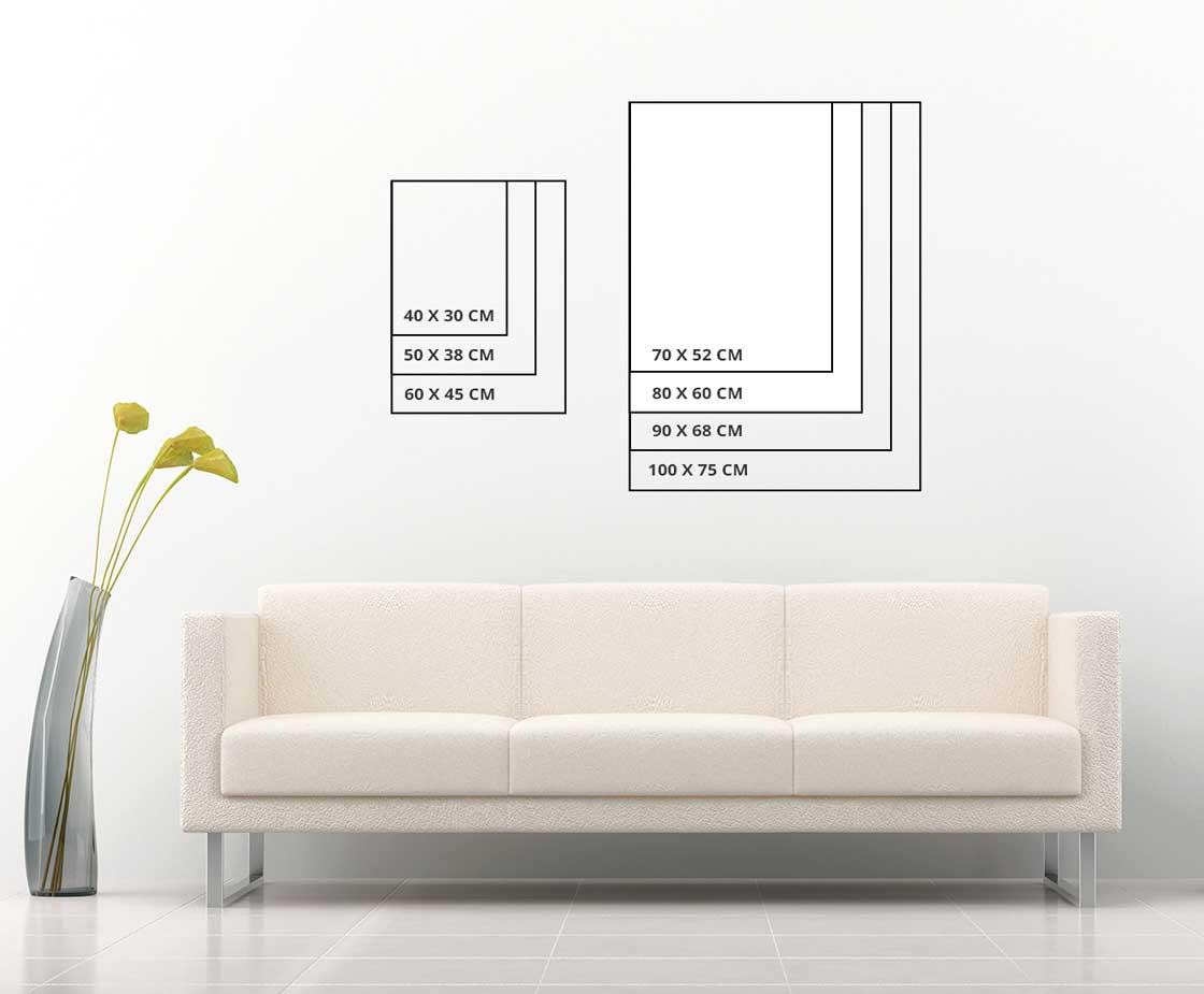Размери картини върху стена. Вертикална картина
