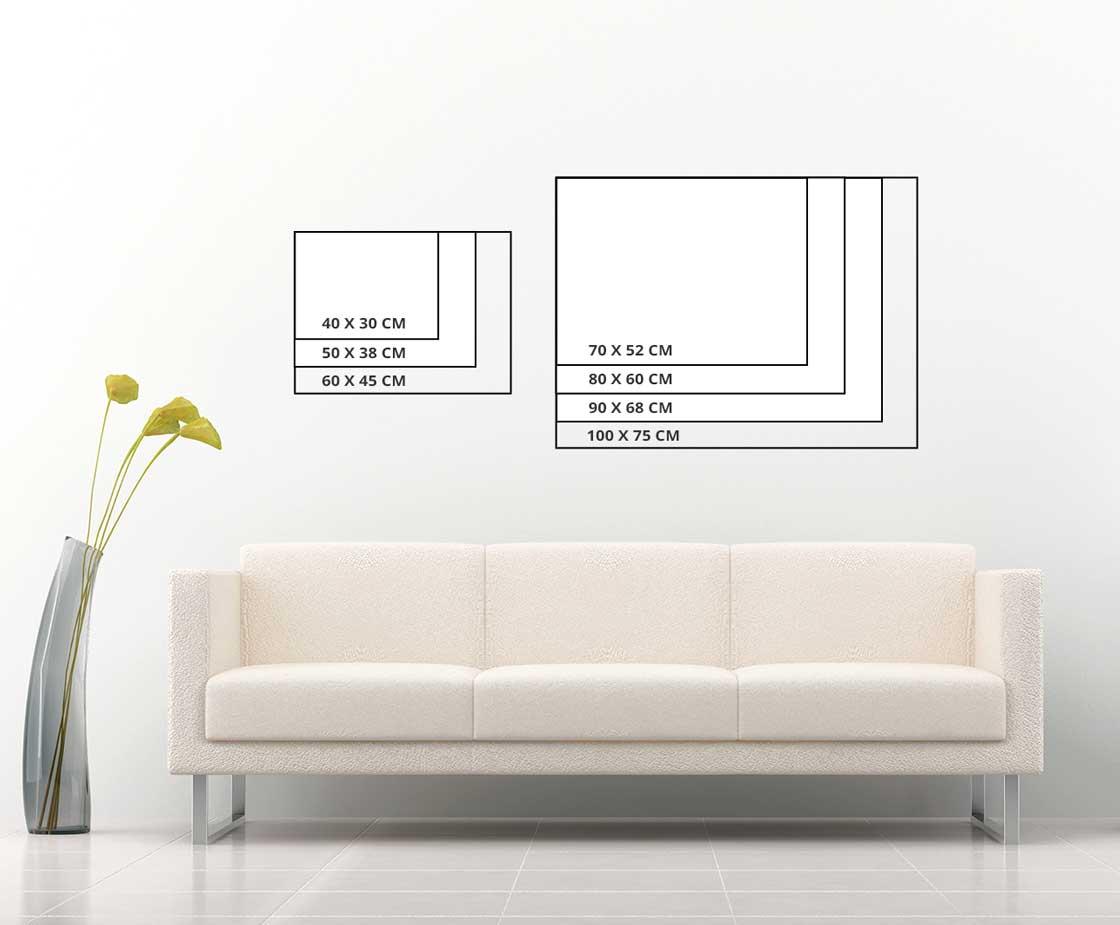 Размери картини върху стена. Хоризонтална картина